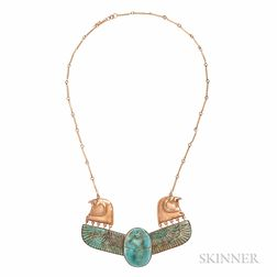 Egyptian Revival Gold and Faience Necklace