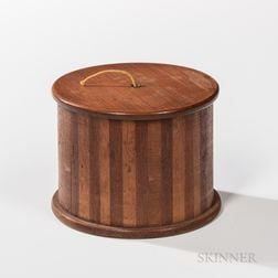 Cherry and Walnut and Maple Inlaid String Box with Lid