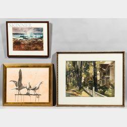 Three Framed Watercolors by Cape Ann Artists:      Paul Ciaramitaro (American, 20th/21st Century), Three Gulls