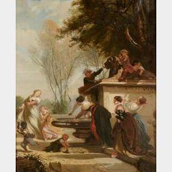Henri Baron (French, 1816-1885)  A La Fontaine