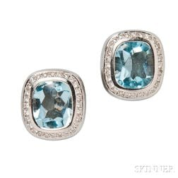 18kt White Gold, Blue Topaz, and Diamond Earrings, Movado