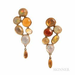 14kt Gold and Fire Opal Earrings