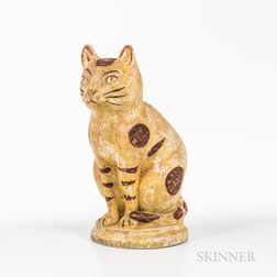 Large Painted Chalkware Figure of a Seated Cat