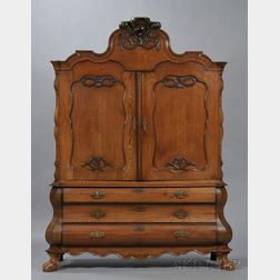Dutch Baroque Carved Oak Armoire/Chest
