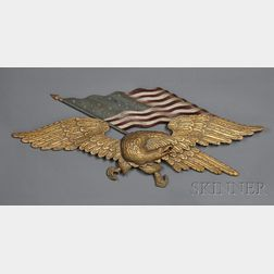 Carved, Gilded, and Painted Eagle and American Flag Wall Plaque