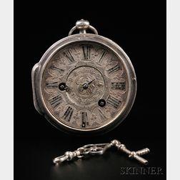 Isaac Yver Silver Case Alarm Watch