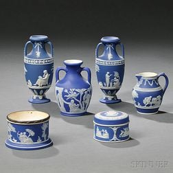 Six Wedgwood Dark Blue Jasper Dip Items