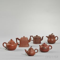 Six Yixing Covered Teapots