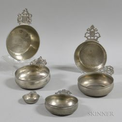 Five Pewter Porringers and a Wine Taster
