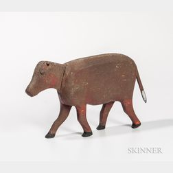 Carved and Red-painted Pine Figure of a Four-legged Animal
