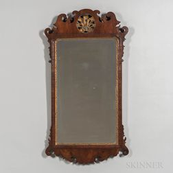 Mahogany Veneer Scroll Frame Mirror