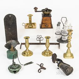 Small Group of Metal and Glass Decorative Items