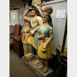 Three Contemporary Carved and Painted Wood Cigar Store Indians.