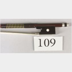 French Silver Mounted Violin Bow, Claude Thomassin, c. 1890