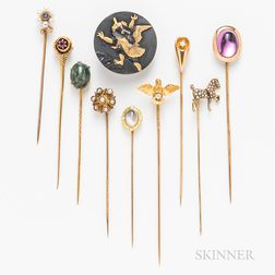 Eight Gold Stickpins and a Shakudo Cuff Button