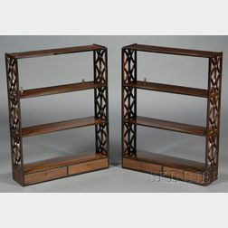 Pair of Regency Teak Hanging Wall Shelves