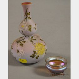 Late Victorian Enamel Floral-decorated Cased Peachblow-type Art Glass Double Gourd-form Vase and a Tiffany Glass and Decorating Co. Gol