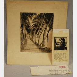 Lot of Two Etchings:      Anthony Thieme (American, 1888-1954), Palm Trees