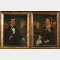 Gloria Welby Fisher (American, Mid-19th Century)      Pair of Portraits of Samuel Bender and His First Wife, Margaret.