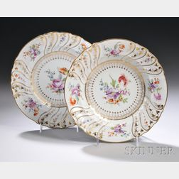 Set of Twelve Dresden Gilt and Hand-painted Floral-decorated Porcelain Soup   Dishes