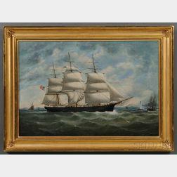 William Gay York[e] (New York/England, 1817-1892)      Portrait of the American Ship WESTON MERRITT   Off Liverpool.