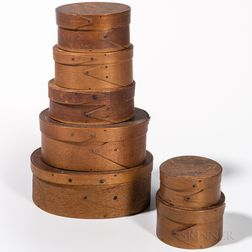 Seven Small Oval and Round Pantry Boxes