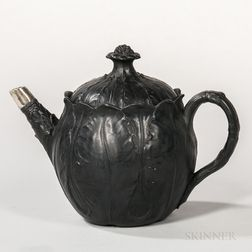 Wedgwood Black Basalt Cabbage Leaf Teapot and Cover
