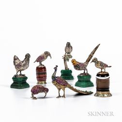 Seven Silver, Enamel, and Gem-set Miniature Birds