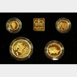 1990 United Kingdom Gold Proof Sovereign Four Coin Collection