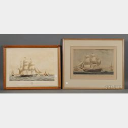 """Lot of Two Prints:   American School, 19th Century, First-Class Packet Ship """"Yorkshire"""" of New York"""