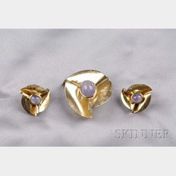 14kt Gold and Star Sapphire Ribbon Suite, Raymond Yard