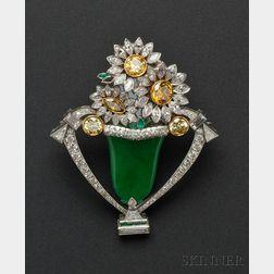 Art Deco Platinum, Colored Diamond, Diamond, and Jade Brooch