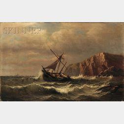 Charles Henry Gifford (American, 1839-1904)      View of a Hulk Near Coastal Cliffs