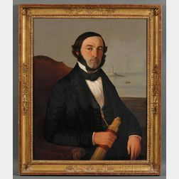 American/French School, 19th Century      Portrait of a Sea Captain Holding a Spyglass with Distant Lighthouse and Vessels