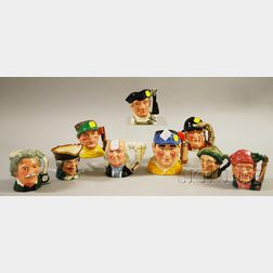 Nine Royal Doulton Ceramic Character Jugs