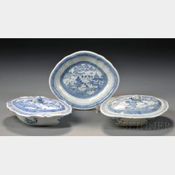 Three Canton Porcelain Serving Dishes