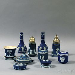 Eleven Wedgwood Dark Blue Jasper items