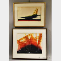 Donald H. Stoltenberg (American, b. 1927)      Two Framed Color Etchings: Shipyard