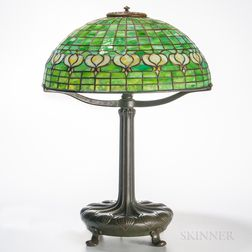 "Tiffany Studios Bronze Table Lamp with ""Pomegranate"" Shade"