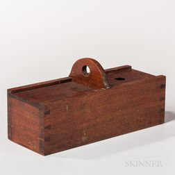 Walnut Odd Fellows Ballot Box with Marbles and Two Ribbons