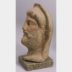 Etruscan Terracotta Profile Bust of a Bearded Divinity