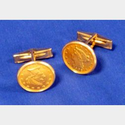 Pair of Cuff Links Mounted with 1902 Liberty Head 2 1/2 Dollar Coins