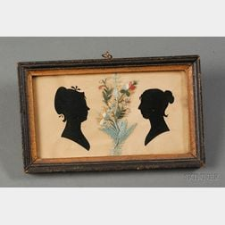 Double Portrait Silhouette of Women with Embroidered Decoration