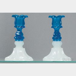 Pair of Translucent Sapphire Blue and Clambroth Glass Candlesticks