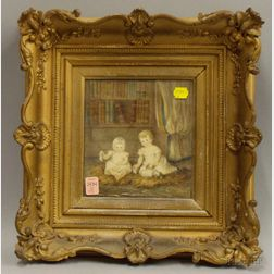 Framed 19th Century Watercolor on Paper Portrait of Two Children at Play in a   Library Room Interior