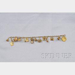 18kt Gold Paris-themed Travel Charm Bracelet, France