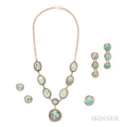 14kt Gold and Blue Stone Suite