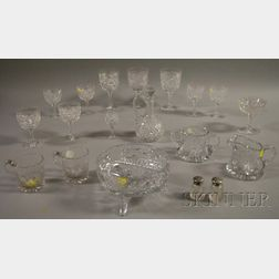 Nineteen Assorted Colorless Cut Glass Items