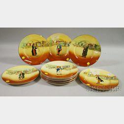 Set of Twelve Royal Doulton Dickens Ware Ceramic Dinner Plates