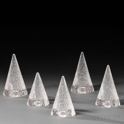 Five David Dowler for Steuben Christmas Trees